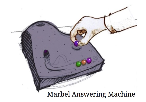 Durrell Bishop marble answering machine is considered as one of the first tangible user interface.