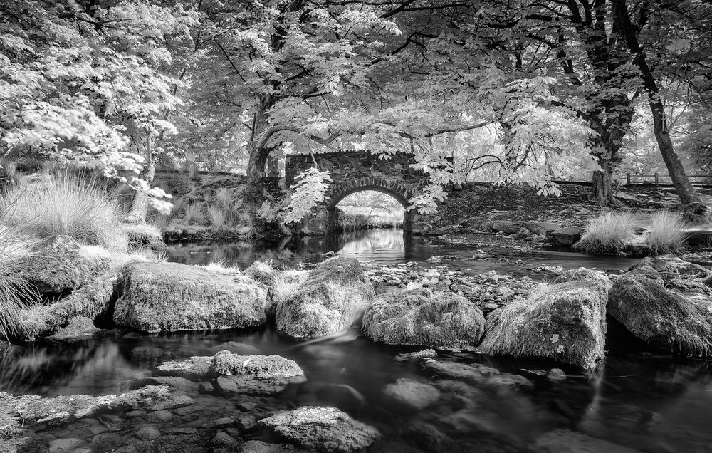 Infrared Photography  - With the hot sunny weather, I've recently visited the Minffordd footpath with a Nikon D7200 converted to 820nm in the infrared spectrum and a Nikon 24mm tilt-shift lens.  Around 800nm is I think gives a far better result than a 720nm spectrum filter, I prefer to finish my images in Black & White than having a false colour photograph.
