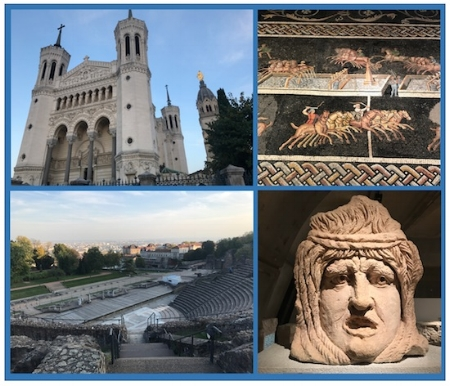 Lyon, France (anticlockwise from top left: Basilica Notre Dame, Roman amphitheater, mosaic and statue head from Lugdunum Museum of Gallo-Roman Artefacts.