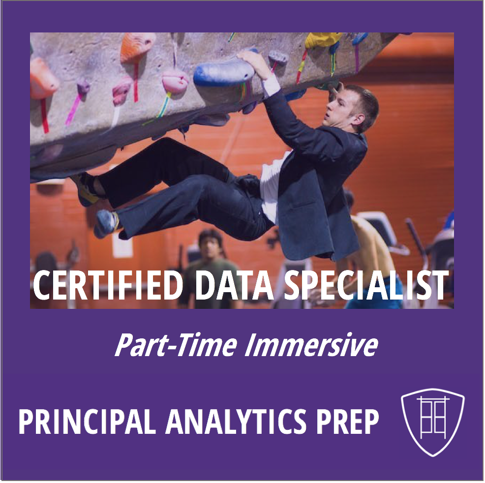 Certified Data Specialist Part-Time Immersive Program   Comprehensive, hands-on practical training from industry veterans in foundational skills for new career in data science & analytics. Three Levels leading to Certified Data Specialist. Part-Time schedule.