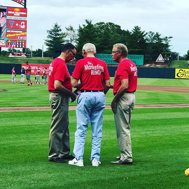 L to R: Mike, Gerald & Mark Stephens singing the national anthem during Bolivar Day at the @springfield_cardinals! And how about those shirts?! 😉 #takemeouttotheballgame #BoMo #cardinals #TheMarketingBunch