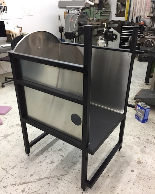 Glory hole frame with sheet metal, front view