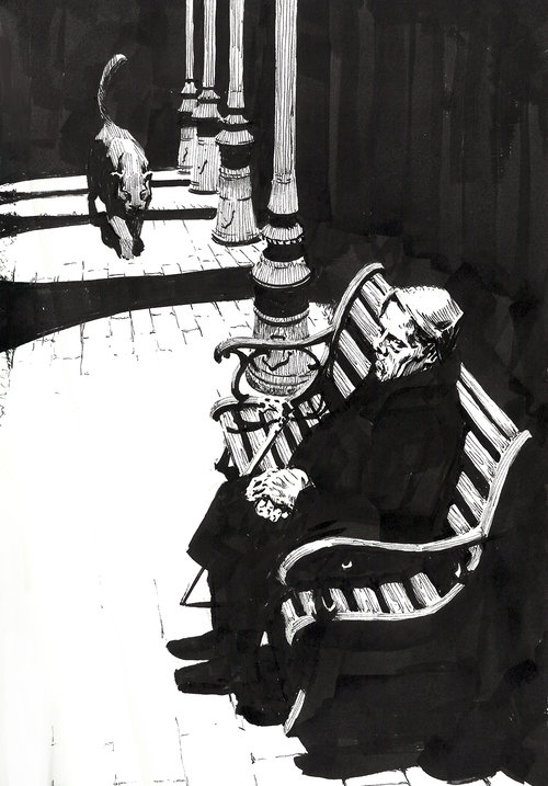 Black Cat $315 Ink drawing on 17x28cm paper
