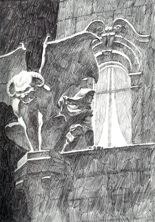 Gargoyle $315 Ink drawing on 17x28cm paper