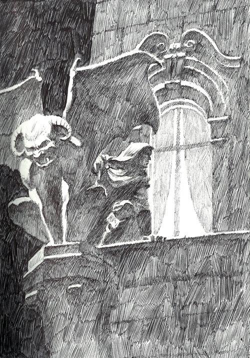 Gargoyle $315 Ink drawing on 17x28cm paper