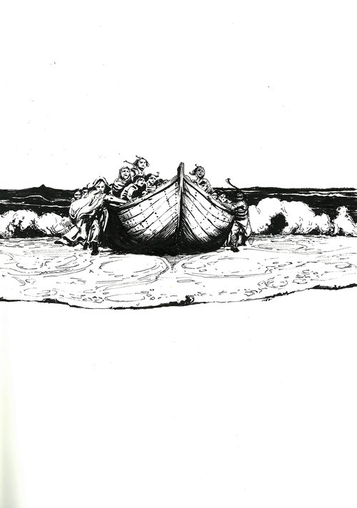 Refugees $315 Ink drawing on 17x28cm paper