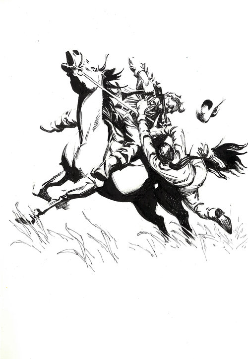 Surprise Attack $315 Ink drawing on 17x28cm paper