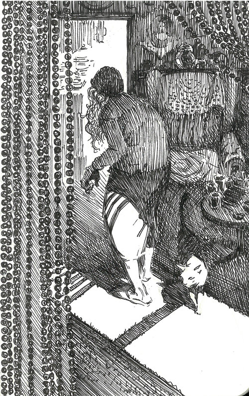 Cat $315 Ink drawing on 17x28cm paper