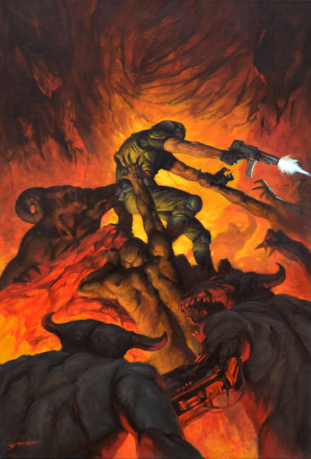 Doom Oil on 40x60 cm canvas $2500