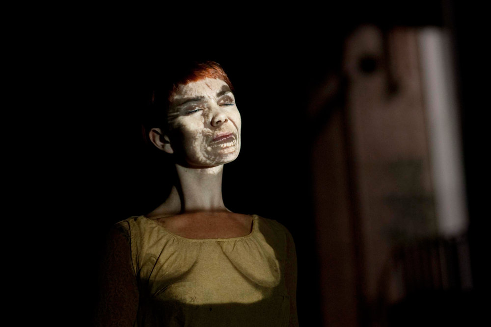 Face Of Another - Golding's seminal expanded cinema work using her body as a screen to investigate the undertones of 'otherness' through imagery and sound.