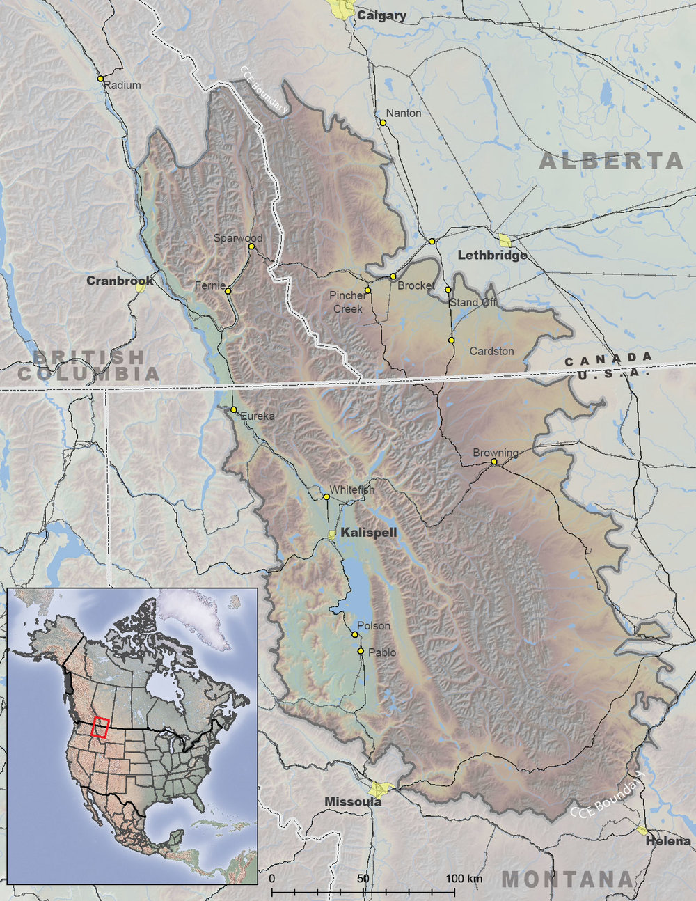 Location of the Crown of the Continent