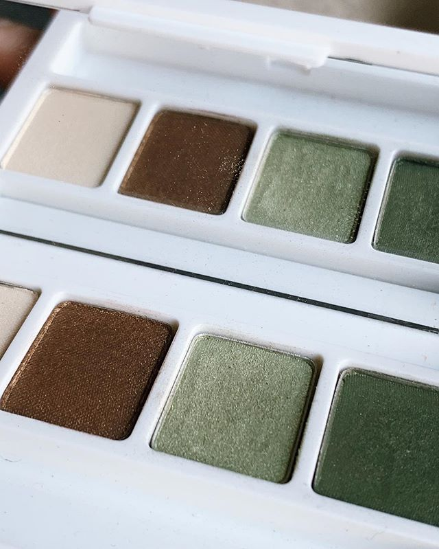 """As of yesterday I decided to """"go for it"""" and give bright eyeshadow a go. My friend gifted me this beautiful quad from @clinique and my brown eyes love it. -  I tried the light green and it's not super bright, just enough, which is great as I'm dipping my toes (or my lids) slowly but surely. -  The bright eyes trend is a bit intimating but also inspiring. How many of us have eyeshadows that are bright but have never had enough courage to wear them out in public? Same, pal...same. -  Here's to bright shadows and confident spirits!"""