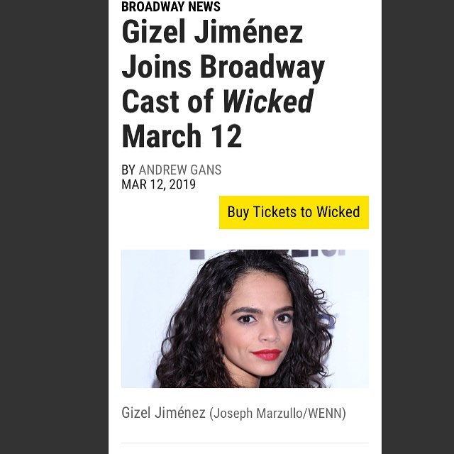 "Congrats to superstar Gizel Jiménez @giz_zy of Episode 6 on her Broadway debut in Wicked! Go see her! And also listen to her amazing ""Turn the Page"" on Loveville High 😉"