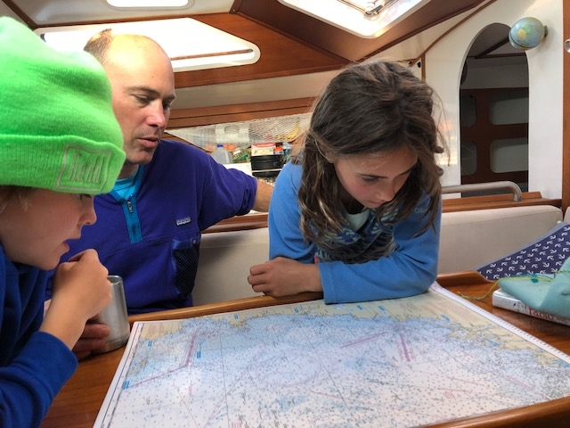 Checking out the chart before we depart.  Isle of Shoals to Harpswell, Maine - 50 nautical miles