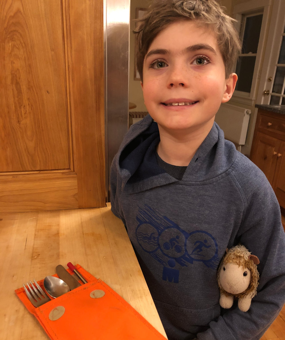 Toren's to-go Utensil pouch - No more plastic straws or silverware for me! I bring this with me to school so I don't have to use the plastic utensils at my cafeteria. Instructions on how to make your own below.