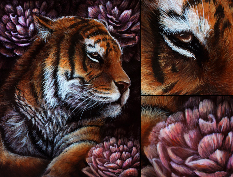 """""""Elegant Eclipse""""  [  Tiger with peonies  ]  11""""x14"""", acrylics on wood. 2015"""
