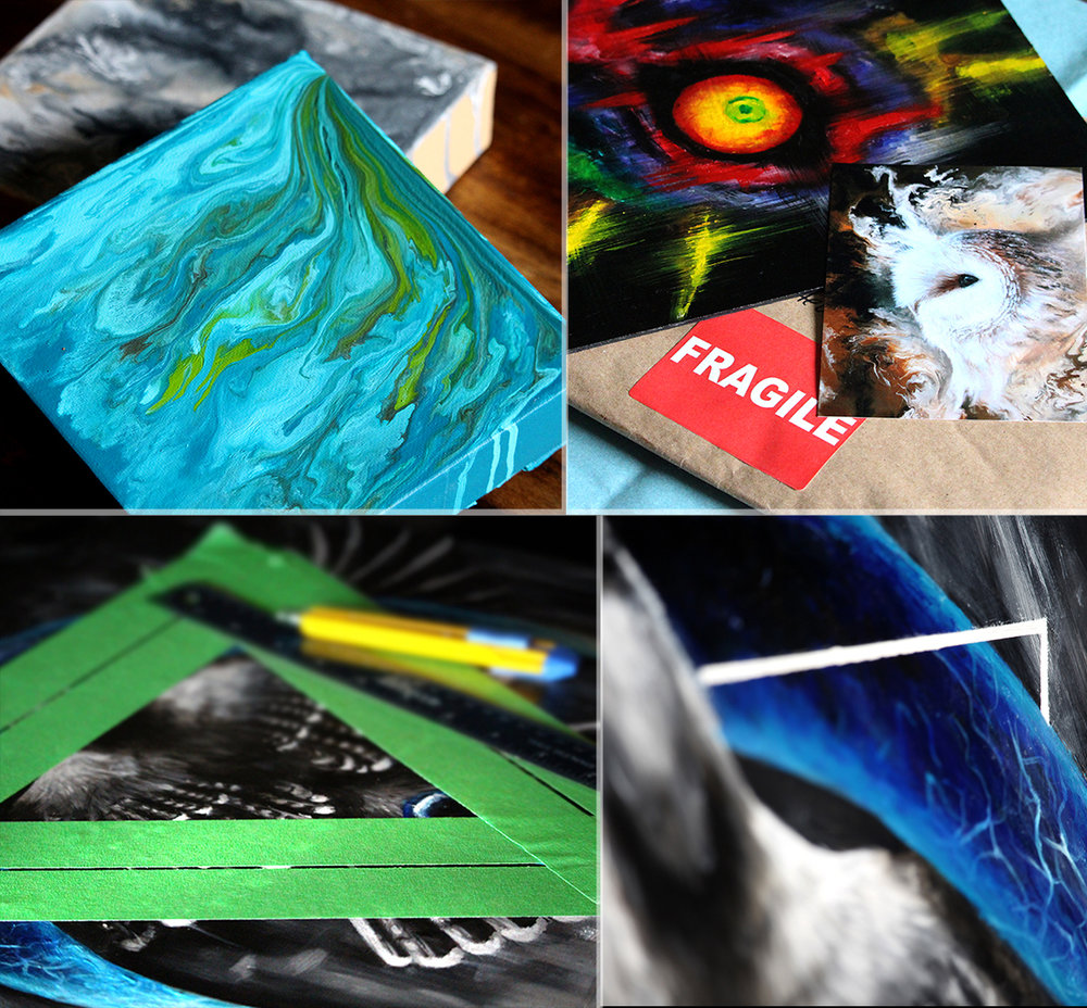 September Highlights   Top Left: Prepping of a few small canvases for some swirling commissions.  Top Right: This month I popped a free gift into all of my original paintings that were mailed off around the world. I pay close attention to my packaging, I want my customers to feel like they are opening a present, complete with free goodies!  Bottom Left: Sometimes there are certain processes that are a treat, and creating gorgeously crisp lines with masking methods is a huge treat for me. Methodically laying down that tape, slapping paint down and peeling it carefully away to reveal beautiful lines makes me incredibly happy.  Bottom Right: Results of masking tape for lines!