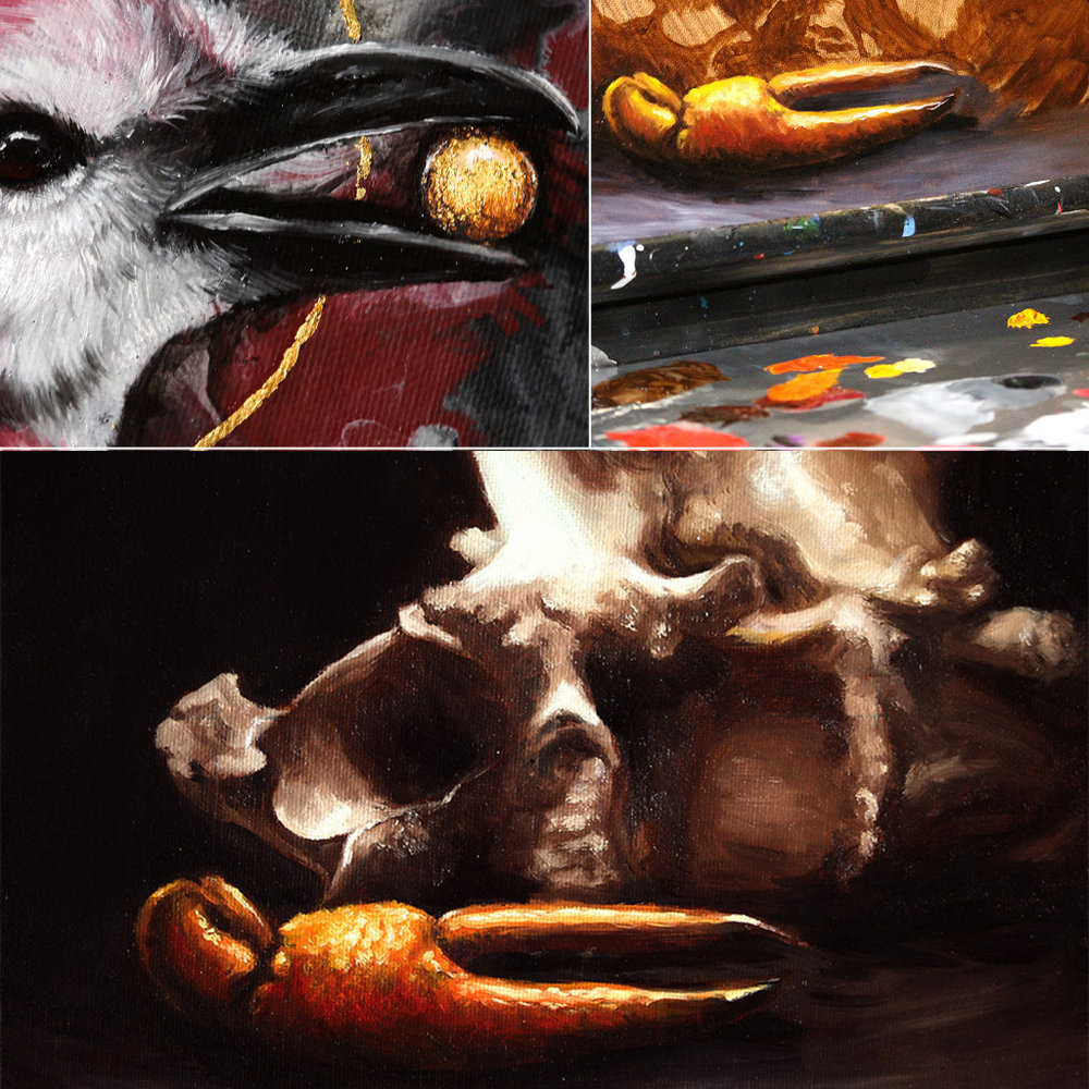 October Highlights  Top Left: Pulled out one of my favorite mediums this month - gold leaf! I fully intend to utilize it more in my paintings, alongside copper and silver leaf as well. Top Right: Did my first still life painting in years - and fully enjoyed every minute of it. Bottom: Slightly cropped view of the still life painting, features a crayfish claw carapace, and two deer vertebrae.