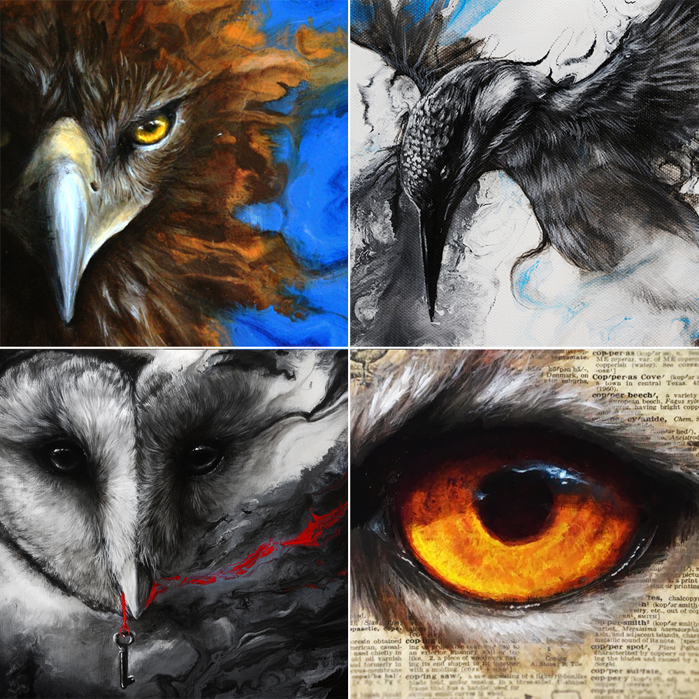 "October Highlights  Top Left: One of a series of four pieces that will be released very soon. Top Right: One of three pieces of mine that will be taking part in the Holiday Show at the Radius Gallery! Bottom Left: October is a time for all things lovely and spooky, so this haunted owl suits the mood. Bottom Right: Painting a vibrant eye as a demonstration in my recent Youtube video, "" How to Paint Eyes ""."
