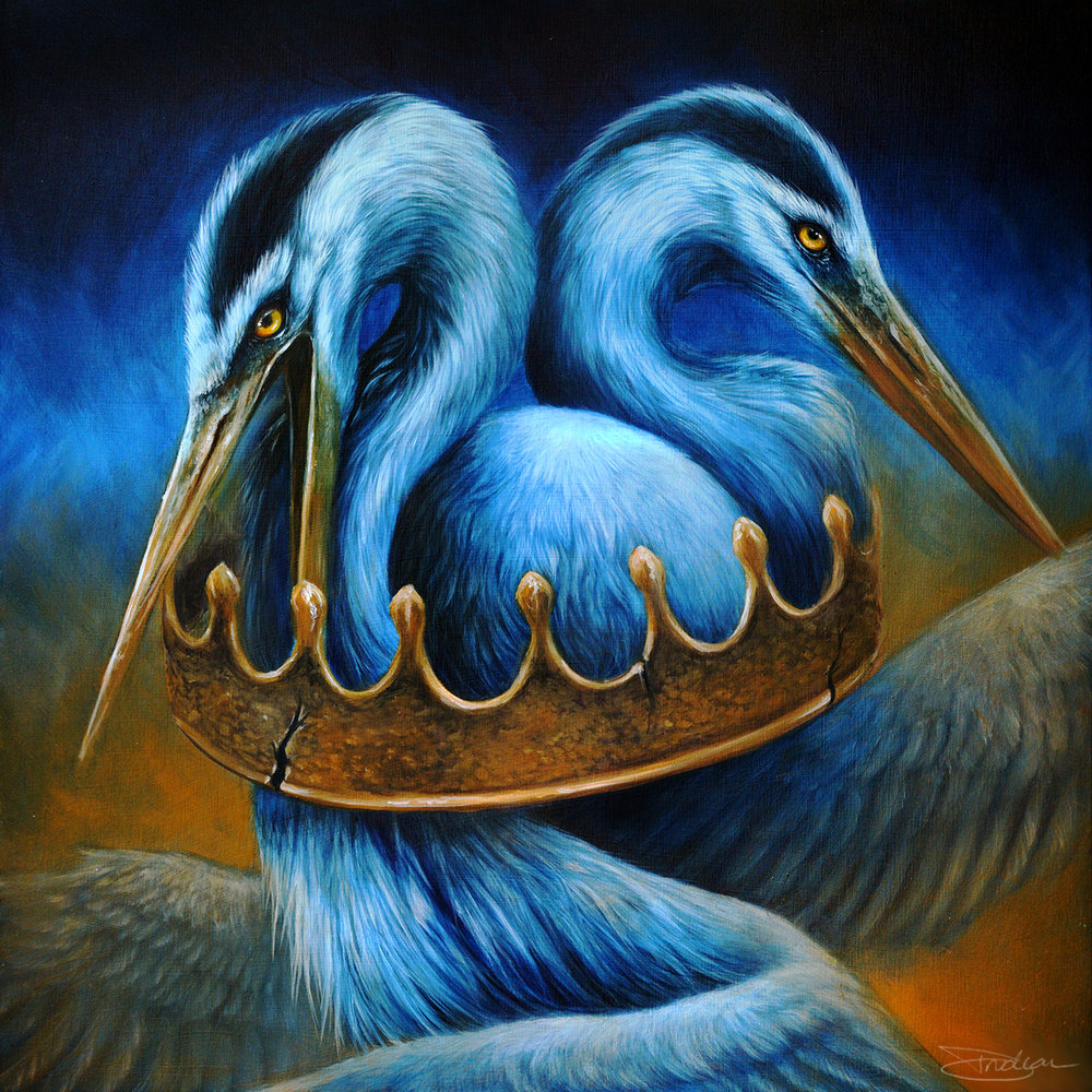 surreal great blue heron with crown painting