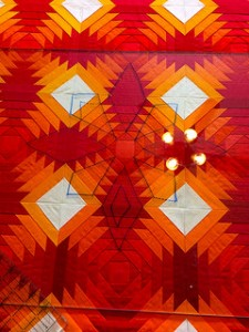 Sunset Pineapple_glass test quilting