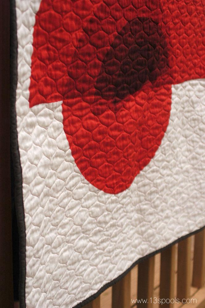 red circle art quilt 3a