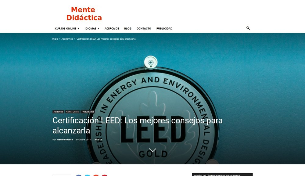 LEED Certification sign (Mente Didáctica)