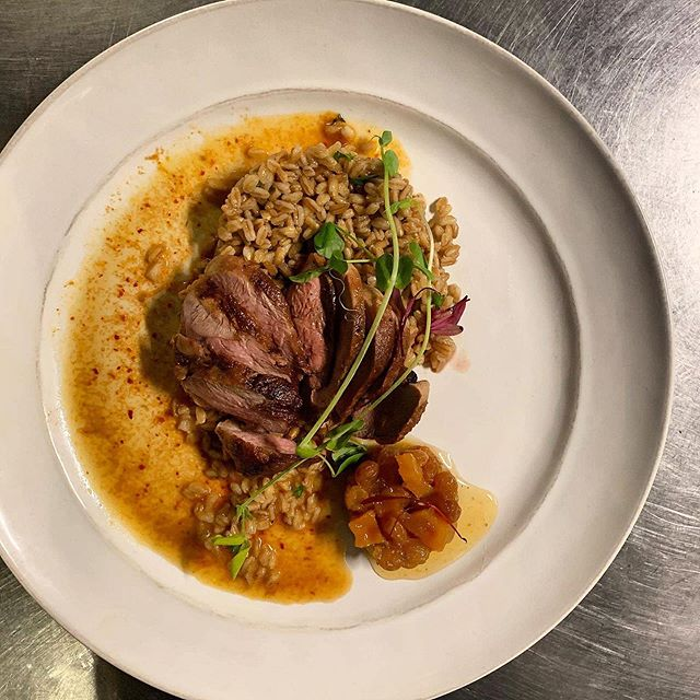 Creativity doesn't hibernate!  pan roasted duck breast, maple farro salad, butternut chutney, curried vegetable jus. #junebar #flxfood #iheartflx #locallysourced #newamericandining