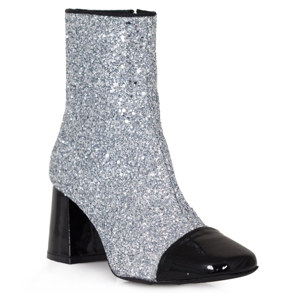 Calley Silver Glitter Booties x Dee Keller - $385