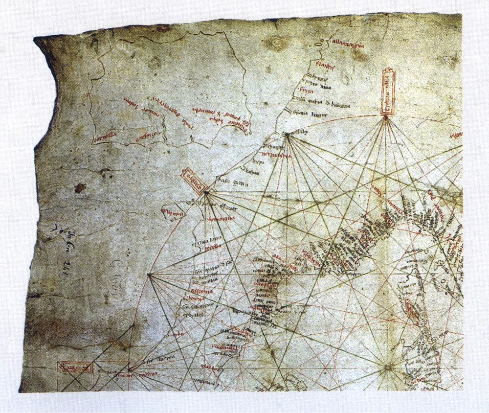 Figure 8: The  Carta Pisana,  a portolano chart. End of 13th century (detail)