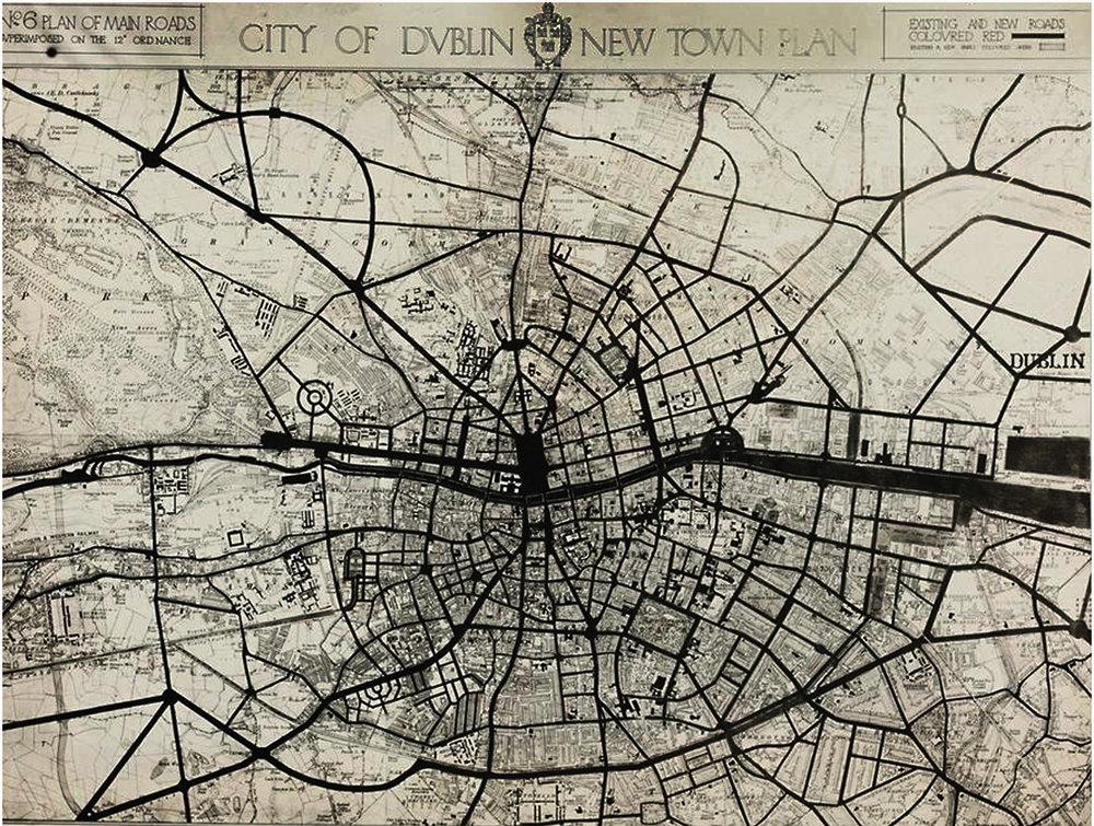 Figure 11:  Dublin, Ireland town plan : Patrick Abercrombie, Sydney A. Kelly and Arthur J. Kelly, (1916)