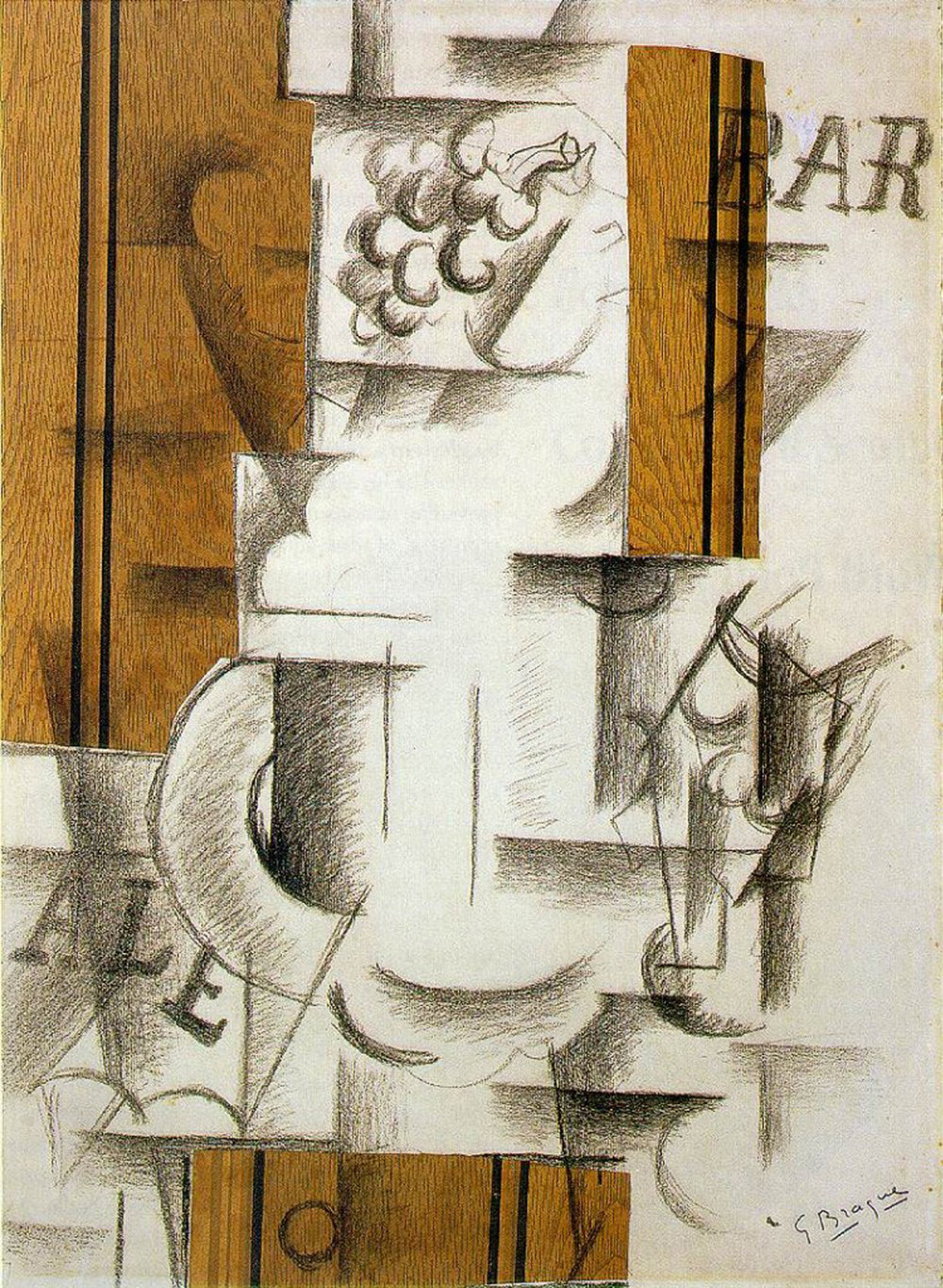 Figure 24:  Fruit Dish and Glass , Georges Braque (1912)