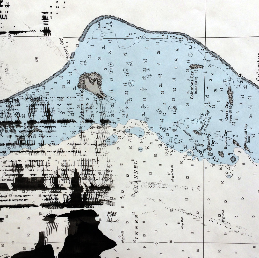 Detail from  Sound Effects  | 2018 | ink on nautical chart | 22.5 x 42 inches.  All images courtesy of the artist.