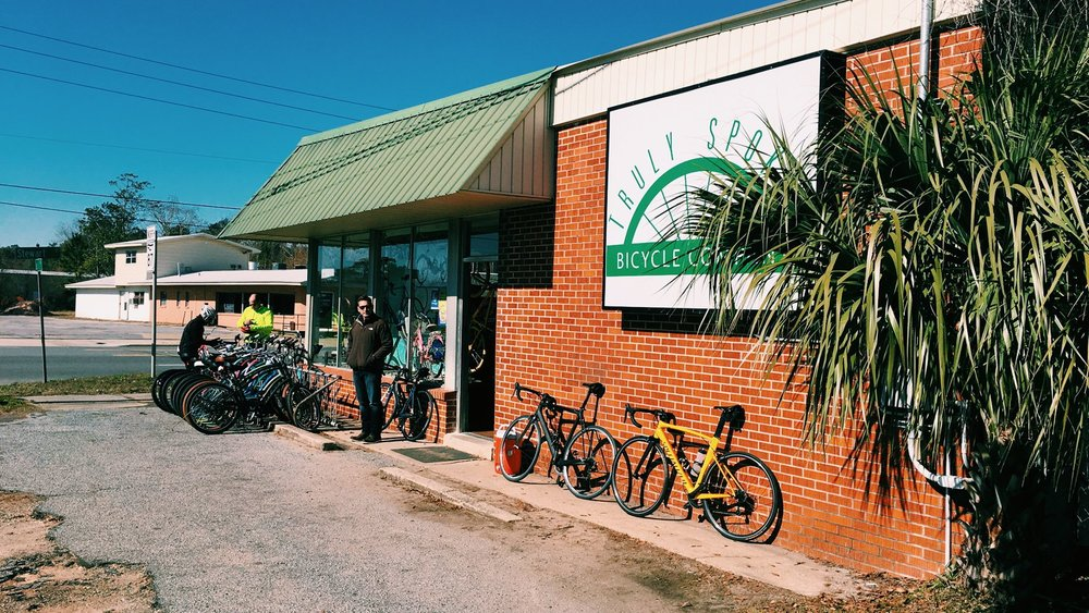 Welcoming registrants at Truly Spokin' Bicycle Co.'s Milton location.