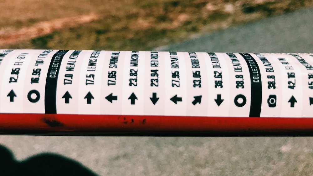 Close-up shot of the vinyl, top-tube cue sheets Fit For Hope had made for this year's ride.