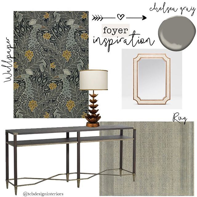 Tuesday inspiration to transform your foyer. 🙌🏻 Wallpaper: @thibaut_1886 | Rug: @starkcarpet | Mirror: @madegoods | Console: @gabbydecor | Paint: @benjaminmoore