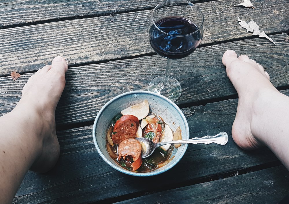 Portuguese sausage soup and Naked Olive wine.