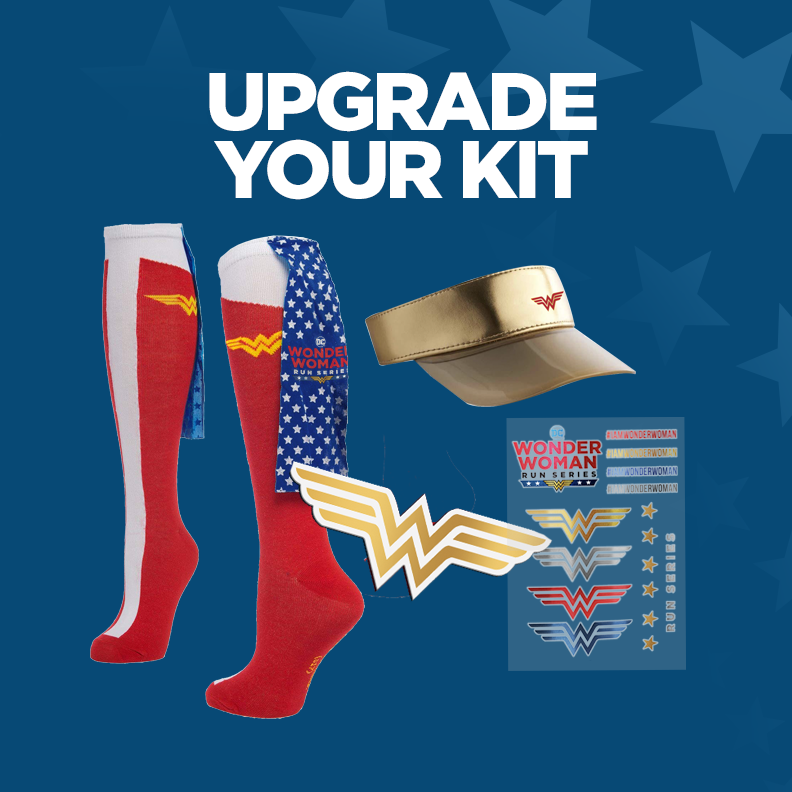 - Upgrade Your Kit!Includes official visor, Wonder Woman cape socks, tattoos and car magnet.