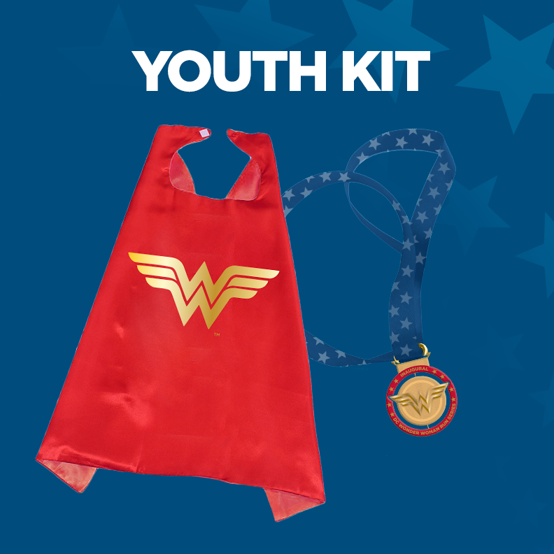 - Youth Kit IncludesWonder Woman cape (youth size)and Inaugural DC Wonder Woman Run finisher's medal!