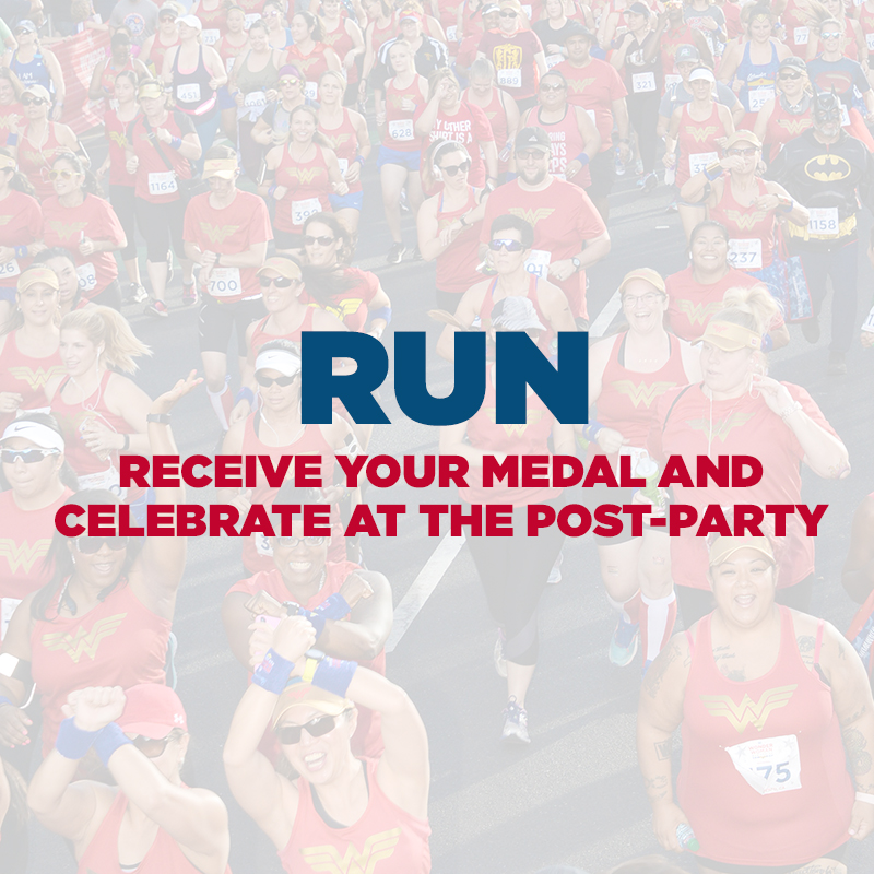 Find your power as you cross the finish line. Show off your medal at a spectacular post-party!