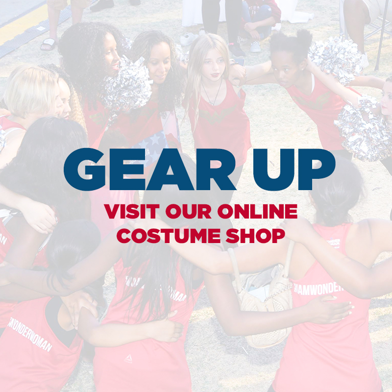 Don the official t-shirt, wristbands, and tote bag included in your kit. Complete your costume online and at the pop-up costume shop at the event!