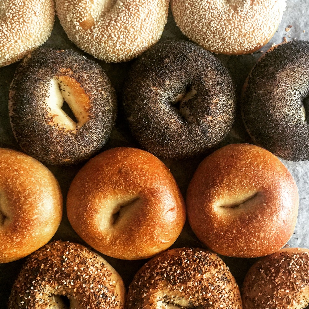 Bagel - A well-balanced bagel with the characteristic chew and crust, but still soft enough for sandwiches. Poolish mixed and baked on the hearth, our hand-shaped bagels are excellent. Available in everything, poppy, sesame, and plain.4 in