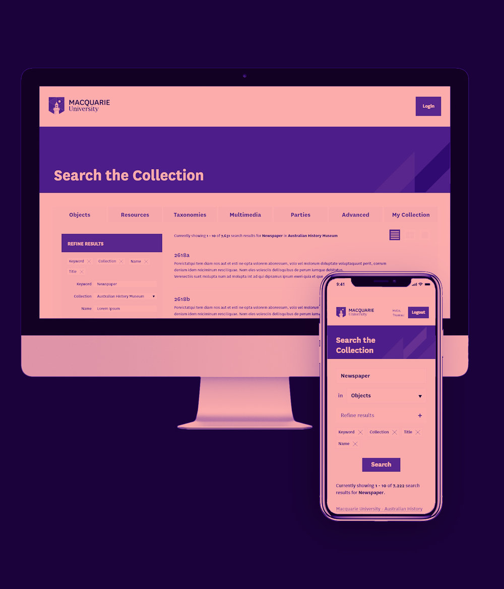 MACQUARIE UNIVERSITY Collection Search - This website design is for Macquarie University, to improve their searching function and adapt to their new brand guideline.