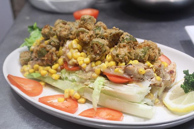 Meal of the day: Soul Salad: Chopped Romaine Lettuce With Tomatoes, Com Succotash And Our Signature Country Vinaigrette Dressing!