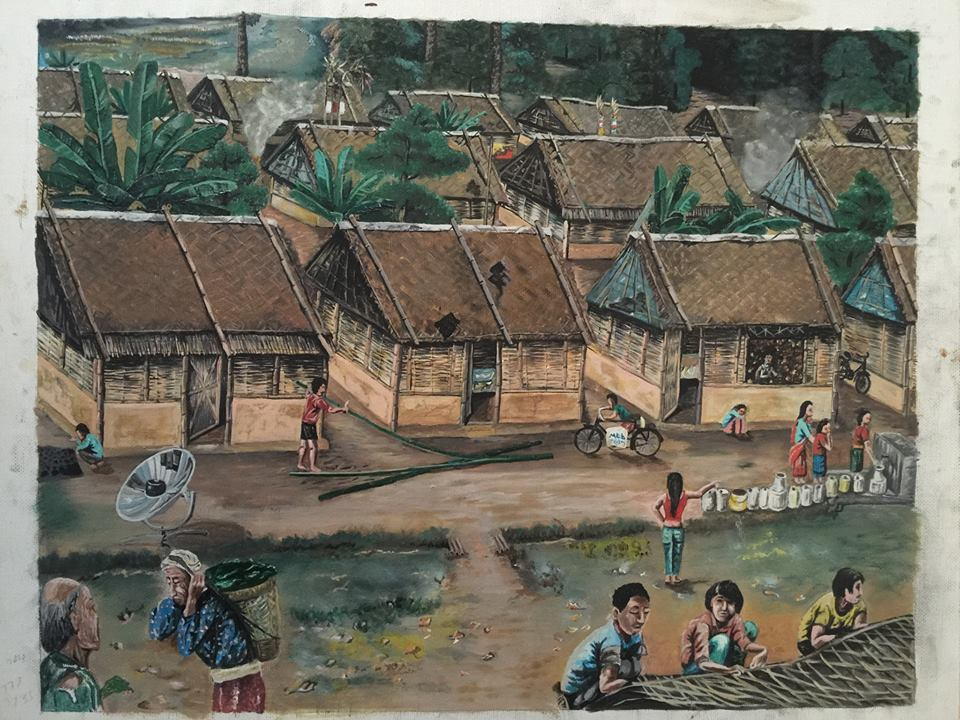 Ram Rai's acrylic painting depicting life in the refugee camp.