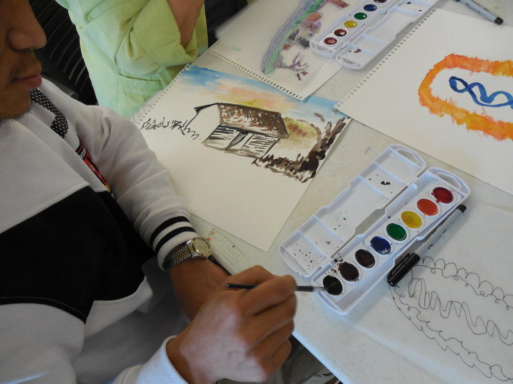 Artist Ram Rai excels at Cal's art project during the CAC visit