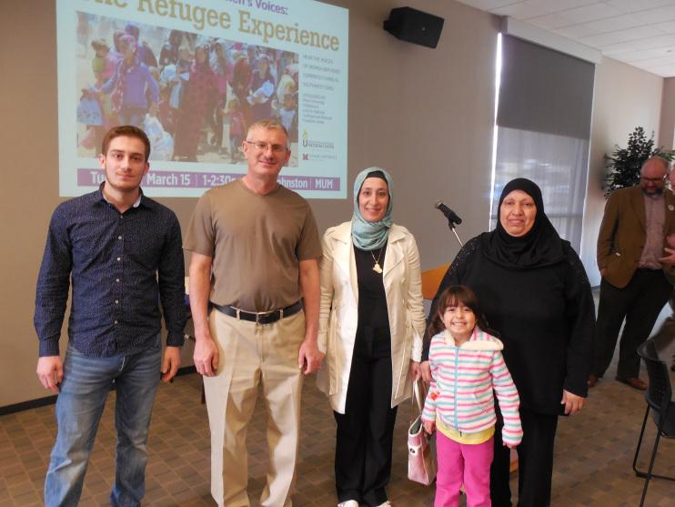 From left to right: Naider (Fadiyya's son), Mazin (Fadiyya's husband), Fadiyya, Maryam, and Najat.