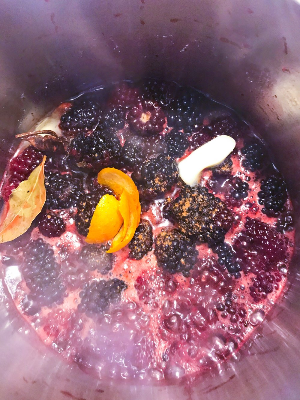 Blueberry Compote - Blackberry compote:In saucepan:-1 small box of blackberries-1/2 cup of cider vinegar-1/2 cup of red wine-2 oz butter-pinch of cinnamon powder-peel of 1 orange-pinch of salt and pepper-1/8 cup sugar in the raw-bring to a simmer and let reduce until blackberries have cooked down and liquid is a syrupy consistency