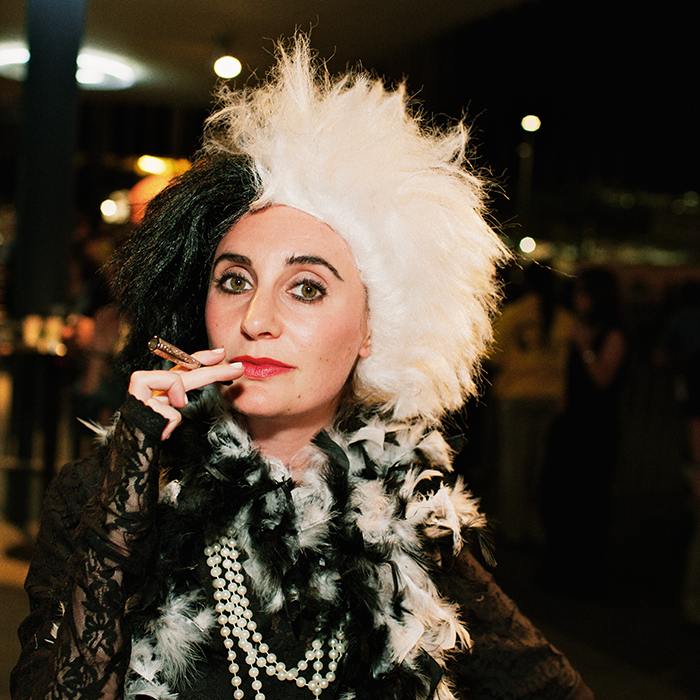 Cruella de Vil | The Arcade Fire Surprise Halloween Show: Photos of the Best Costumes | Vanity Fair  taken by  Hamish Robertson