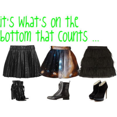 it's what's on the bottom that counts …  by  inspirationstation  featuring  black boots             Christopher Kane printed skirt  €915-colette.fr          Faux leather skirt  $160-net-a-porter.com          River Island feather skirt  £45-riverisland.com          Rupert Sanderson black boots  $1,045-rupertsanderson.com          Alexander Wang lace up bootie  $625-lagarconne.com          Alexander Wang platform heels  £248-net-a-porter.com